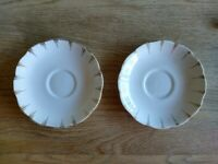 Two Royal Albert Crown China plates / saucers - white and gold