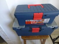 Two Artist's Art Student's Tool Boxes Art Equipment Carrying Cases Storage Caddies. £15 for the two.