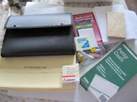 BUNDLE OF STATIONERY ITEMS INCL FILES, PETTY CASH SLIPS, LABELS, PENCILS ETC