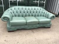 2x Green leather chesterfield sofas