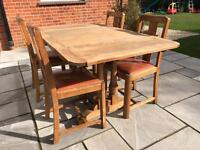 Table and chairs vintage oak