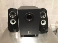Logitech speakers with subwoofer.