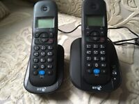 BT TWIN DIGITAL CORDLESS PHONE X2 with built in ANSWERING MACHINE