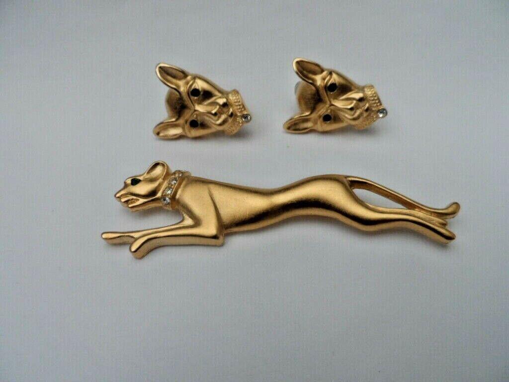 Vintage Jackie Collins PANTHER Big CAT Set Brooch Clip On Earrings - $229.99