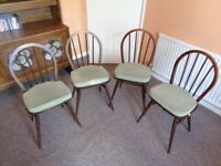 Ercol, Vintage 1960's Hoopback Chairs with Cushions