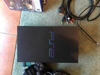 PS2 console, 2 controllers, gun, eye toy + 10 games
