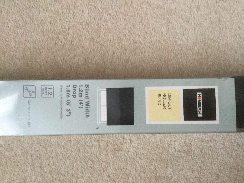 Brand New - Black roller blind, 4ft wide, 5.3ft drop