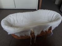 Natural Wicker Moses basket /crib with linen- good quality