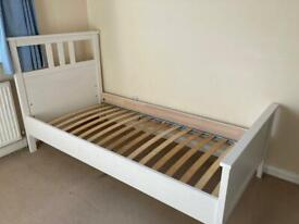 IKEA single white Hemnes bed