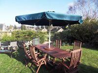 Wooden Garden Patio set. 6 chairs, table, parasol