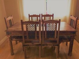 Wood and Wrought Iron Stylish Rectangular Dinning Table
