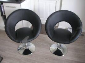 Dwell black and chrome retro circles swivel chairs x2