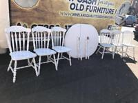 White wood dining room table with 6 chairs £65