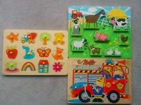Toddler wooden puzzles x4 (animal, fireman, ELC various obj, shape sorter)