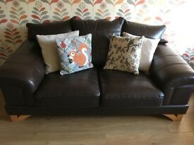 Brown leather 2 & 3 seater sofas in good condition