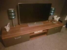 2m grey and walnut tv unit
