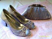 Silver/Grey Satin Shoes size 6 and matching clutch bag by Lunar Elegance, Never worn.