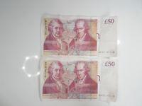 rare 50 pound note ak33267 consecutive serial nos very good condition set of 2