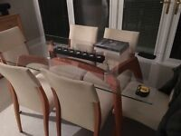 Glass dining room table & 6 chairs **Excellent condition**