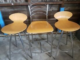 Wooden and chrome bar stools/chairs