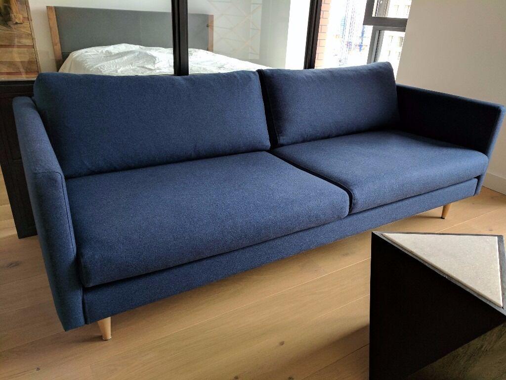 Swoon Editions Tivoli Three Seater Sofa In Midnight Wool