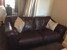 Two leather sofas - 1 two seater and 1 three seater in good condition . Buyer will need to collect