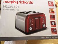 Morphy Richards Red Accents 4 slice Toaster 242004