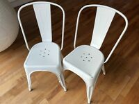Metal dining/kitchen chair, Tolix café style, set of two, white. Inspired by Xavier Pauchard
