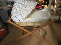 Mamas and Papas Moses basket with stand and blanket