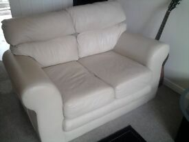 beige leather 2 piece suite/sofas