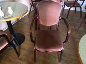 Upholstered metal chairs approx 24 good cond