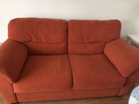 2 and 3 seater settees in burnt orange fabric a few catches on 2 arms but otherwise great condition
