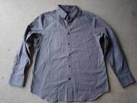 Jeff Banks shirt, grey with pin stripes and pattern, size large