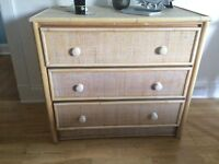 JOHN LEWIS RATTAN CHEST OF DRAWERS
