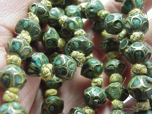 """80 Green BEADS 1/2"""" Rare Antique Chinese Silver Enamel Deco ? Necklace 42"""" Long"""