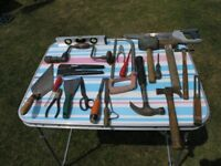 Over 20 Assorted Handtools Inc Hammers Saw Spirit level