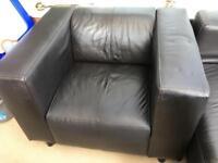 Dark brown leather sofa & chair