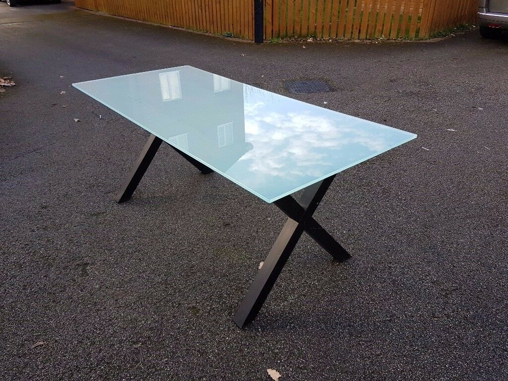 Frosted Glass Dining Table Cross Legs 180cm FREE DELIVERY 016