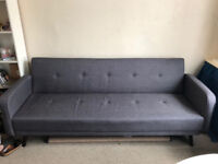 Grey fabric sofa bed, 3 seater