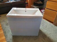 Qualitex luxury bathroom basin and drawers. White, single tap, three drawers.