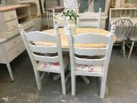 Shabby chic oak table & chairs