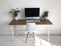 ARTEMIS Handmade White Hairpin Leg Desk and Chair Workstation Writing Table Industrial Free Delivery