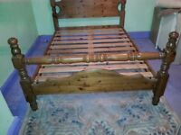 CHUNKY SOLID PINE DOUBLE BED WITH HIGH FOOT END