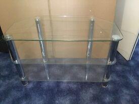 Glass & Chrome T V Table / Stand 80cm W x 40cm D x 50cm H