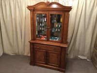 Antique Georgian Style Oak & Walnut Display Unit - Cocktail Bar - Repro