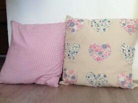 2 x Decorative Cushions - Vintage, Shabby Chic, Retro