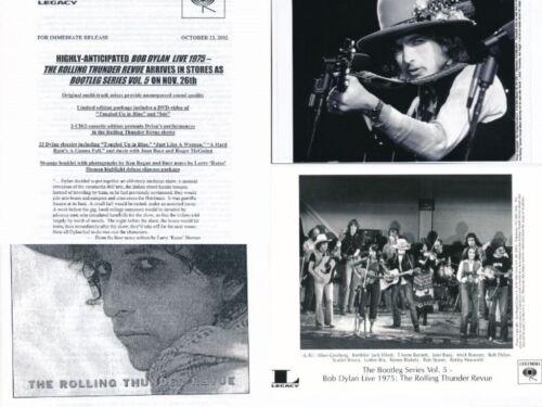 "BOB DYLAN-Live 1975 The Rolling Thunder Revue Columbia Press Kit-2-8"" X 10"" 2002"