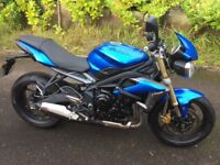 Triumph Street Triple 675, 2013, Blue, Mint Condition, FSH, 12m MOT