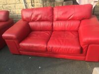 DFS RED LEATHER SOFA CHAIR FOOTSTOOL