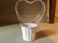 White flower girl confetti basket with heart shape handle